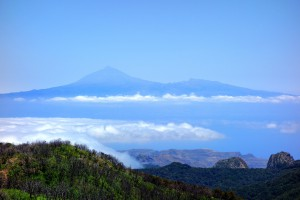Roques and Teide from Garajonay La Gomera island