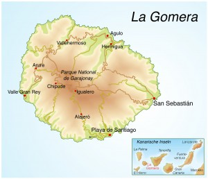 Landkarte von La Gomera.Kanarische Inseln